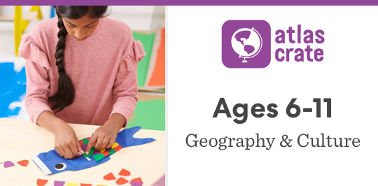 Discover geography and culture with Atlas Crate for ages 6 to 11