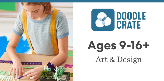Learn about art and design with Doodle Crate for ages 9 to 16 plus