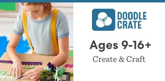 Learn about creating and crafting with Doodle Crate for ages 9 to 16 plus