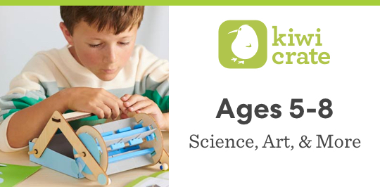 Experiment with science, art, and more with Kiwi Crate for ages 5 to 8