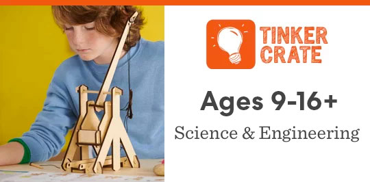 Learn about science and engineering with Tinker Crate for ages 9 to 16 plus