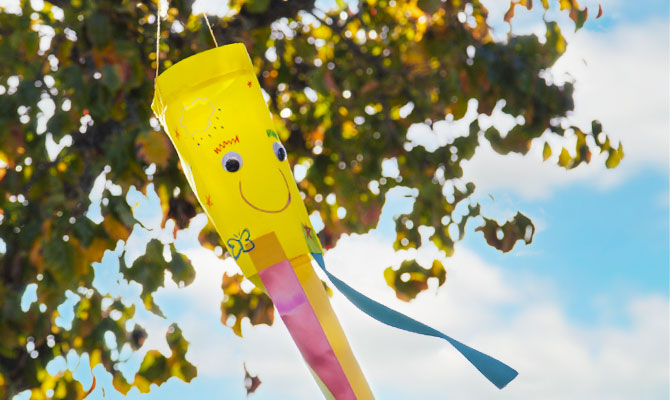 a colorful fabric windsock blowing in the breeze