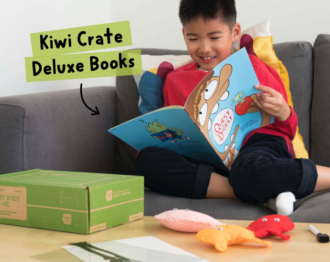 Child reading a Kiwi Crate Deluxe Children's Book