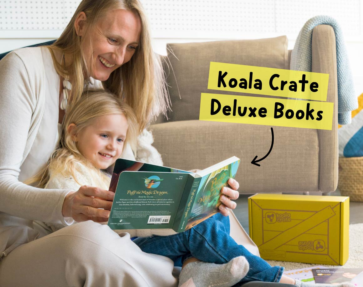 Parent and child reading Koala Crate subscription book for preschoolers