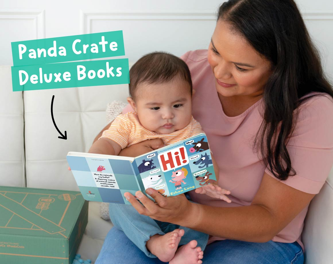 Parent reading a Panda Crate subscription book for babies