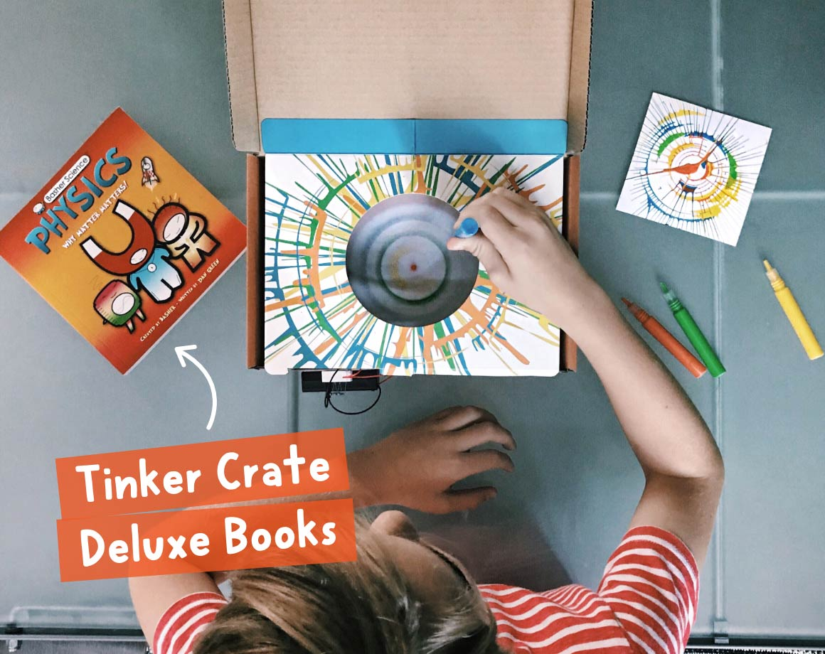 Child with Tinker Crate STEM subscription book for tweens and teens