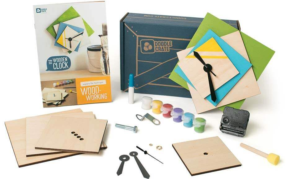 Doodle Crate subscription with all materials for making a modern wooden clock.