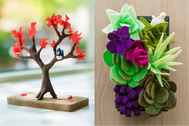 A clay tree sculpture and succulent kit from the Doodle art subscription box