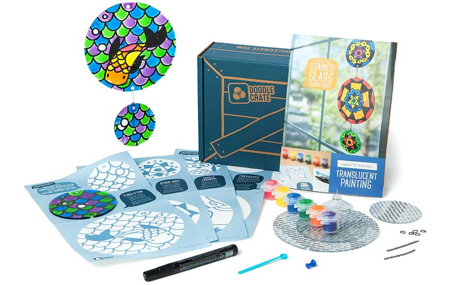 Kids arts and crafts subscription box learn to make translucent painting from Doodle Crate.