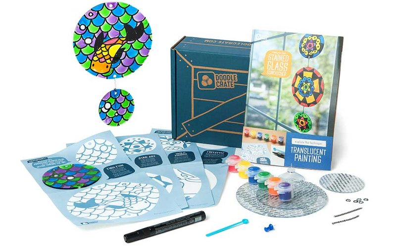 Craft materials included in a Doodle Crate art kit for kids