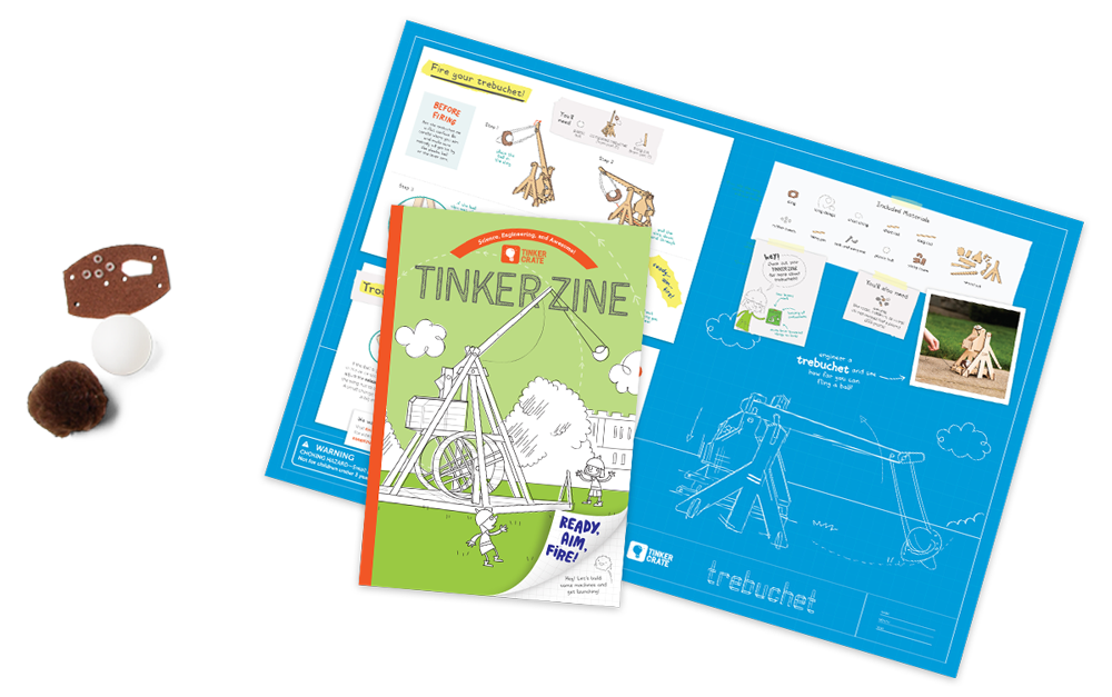 Pamphlet from Trebuchet Tinker Crate with clear instructions and STEM learning