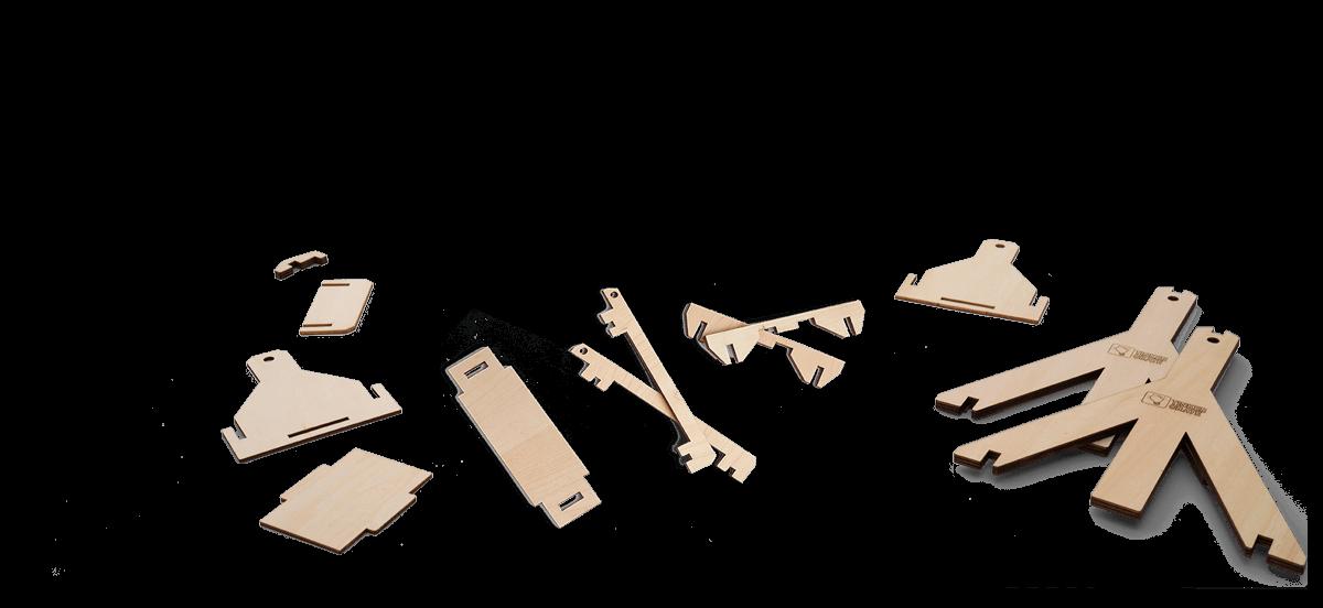 Step 1 of wooden trebuchet kit assembly in progress