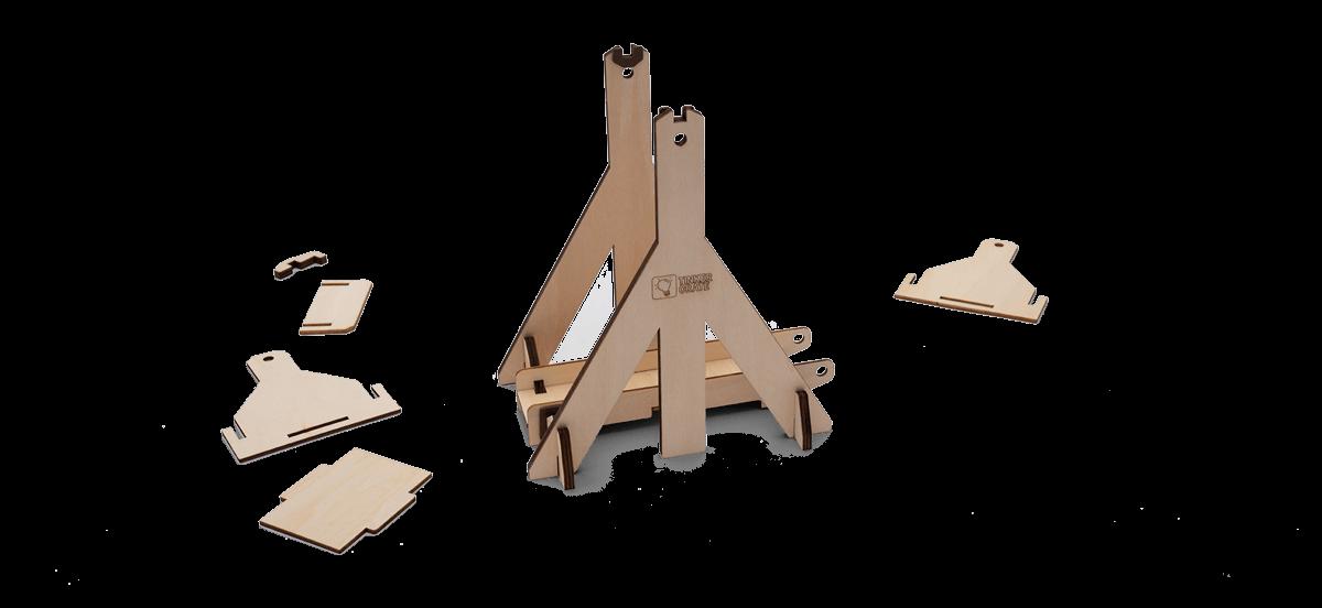 Step 3 of wooden trebuchet kit assembly in progress