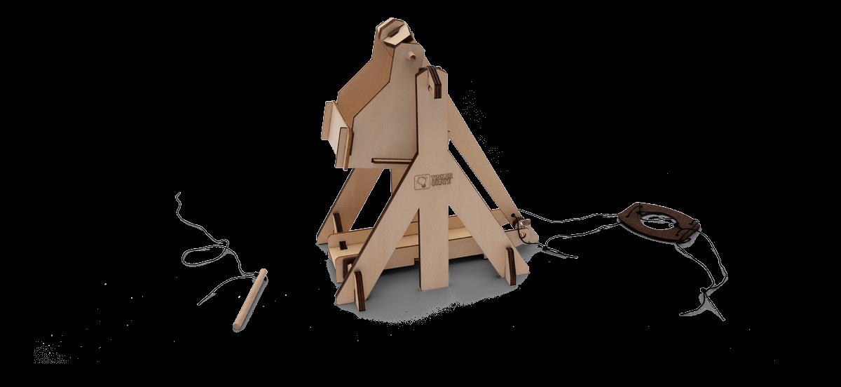 Step 4 of wooden trebuchet kit assembly in progress