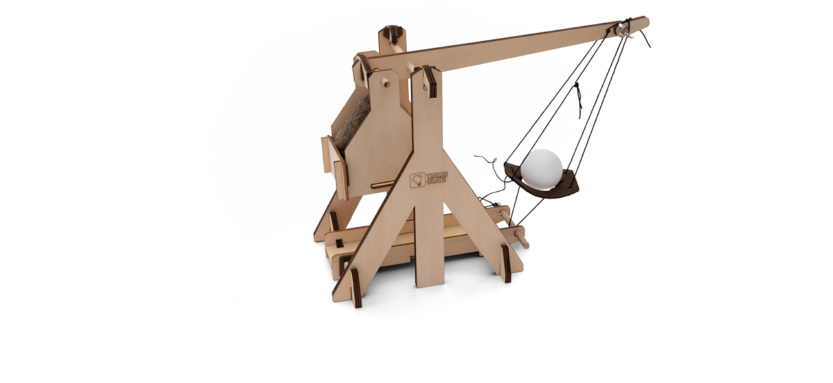 Step 5 of wooden trebuchet kit assembly in progress