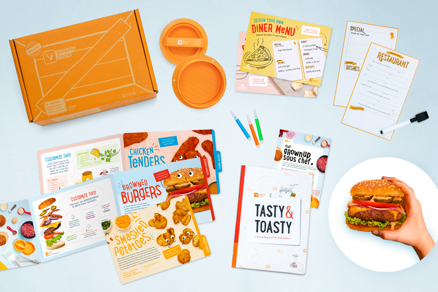 Everything needed to make tasty and toasty hamburgers from a Yummy Crate cooking box